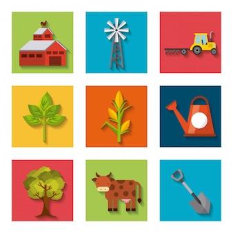 Produção agrícola conjunto de ícones