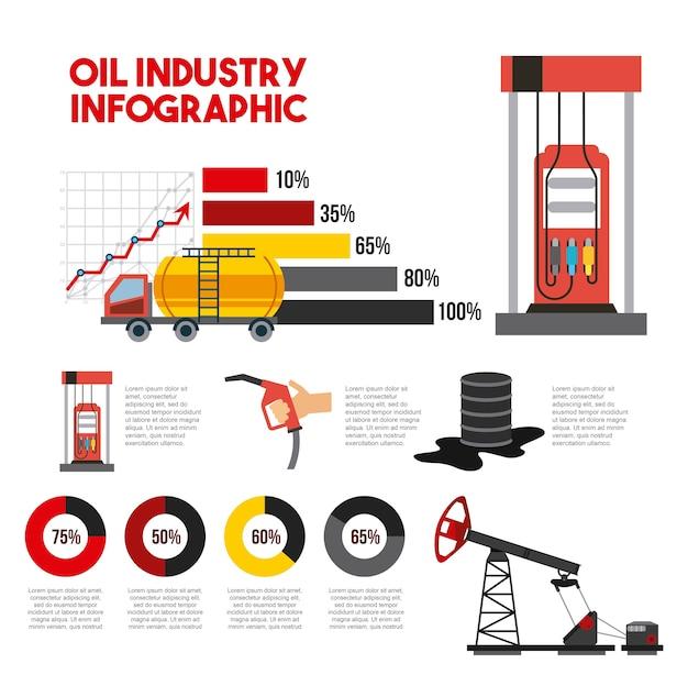 Produção de barril de gás de transporte infográfico de indústria de petróleo