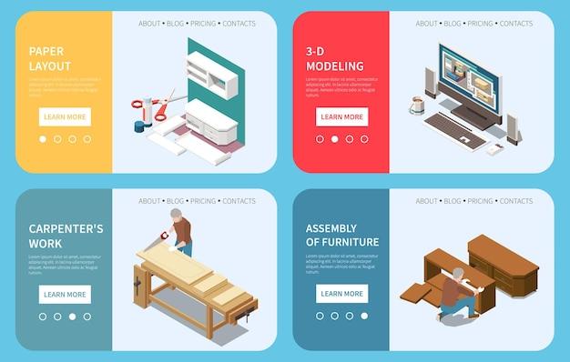 Produção de carpintaria 4 web banners isométricos com layout de papel modelagem em 3d por computador montagem de móveis de madeira