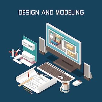Produção de carpintaria modelagem computacional de móveis instruções de construção software de desenho técnico composição isométrica
