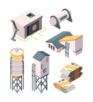 Produção de cimento. coleção isométrica de tanques e misturadores de transporte de concreto de indústria pesada