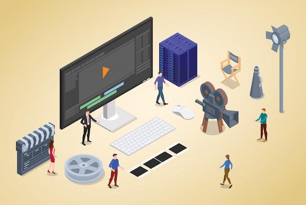 Produção de edição de vídeo com pessoas da equipe e editor com isométrica moderna