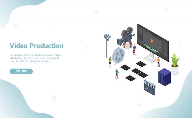 Produção de edição de vídeo com pessoas da equipe para o modelo de site ou página inicial de destino