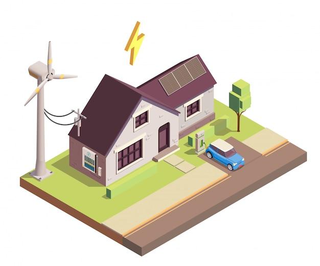 Produção de energia renovável verde para ilustração isométrica de consumo doméstico