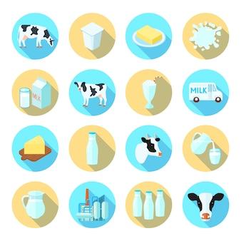 Produção de leite leiteira fazenda plana ícones conjunto com manteiga queijo redondo sombra conjunto abstrato isolado