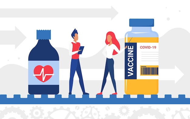 Produção de vacina homem mulher personagem em pé com o frasco de vacina tratamento