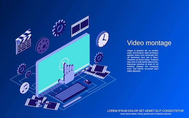 Produção de vídeo, edição, montagem plana 3d ilustração de conceito de vetor isométrico