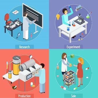 Produção farmacêutica 4 ícones isométricos