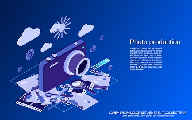 Produção fotográfica, montagem, edição de conceito isométrico plano