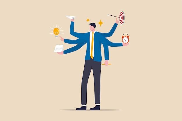 Produtividade e eficiência no trabalho, ideia de negócio, conceito de multitarefa e gerenciamento de projetos, empresário inteligente