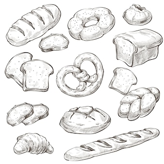 Produto assado, pão e pãezinhos monocromáticos