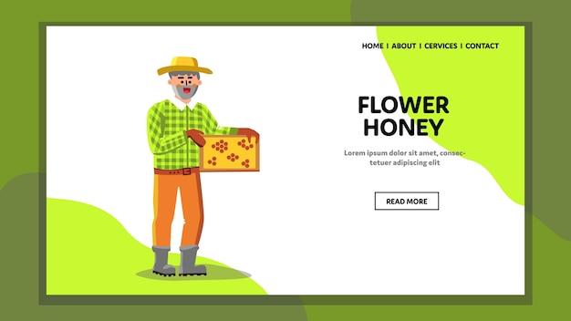 Produto biológico de mel de flor segurando apicultor