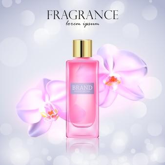 Produto cosmético com flores de orquídea