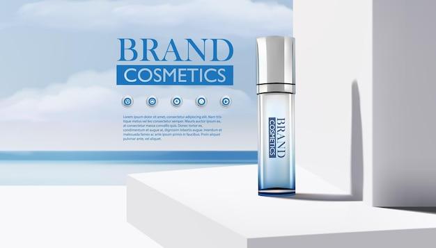 Produto cosmético de beleza. banner de frascos de cosméticos