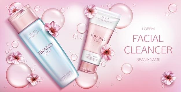 Produto cosmético de beleza em rosa