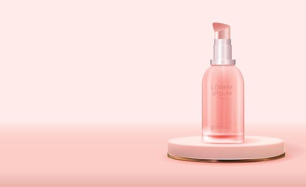 Produto cosmético de beleza natural 3d realista para cuidados com o rosto no pódio rosa