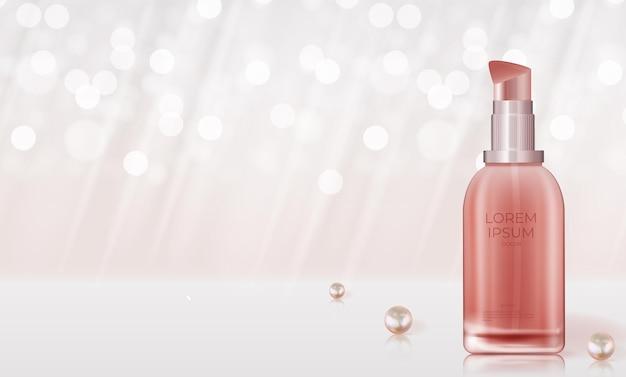 Produto cosmético de beleza natural 3d realista para cuidados com o rosto ou corpo em bokeh brilhante