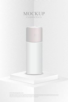 Produto cosmético de maquete branca minimalista de pôster