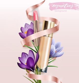 Produto cosmético, fundação, corretivo, creme com batom e açafrão de flores. fundo de beleza e cosméticos.