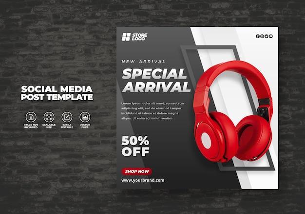 Produto da marca de auscultadores sem fio moderno e elegante de cores vermelhas para banner de modelo de mídia social