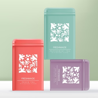 Produto de chá, aço, alumínio ou lata, embalagem nas cores rosa violeta e hortelã-pimenta com estampa abstrata