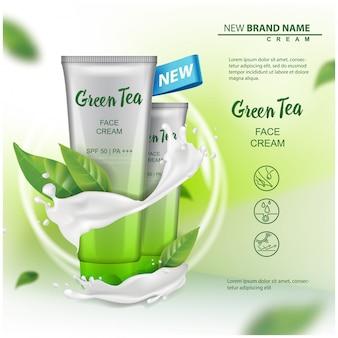Produto de cosméticos com extrato de chá verde, publicidade para catálogo, revista. de embalagem cosmética. creme, gel, loção para o corpo