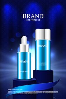 Produto de embalagem cosmética no pódio