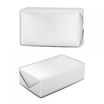 Produto de embalagens de papelão manteiga. caixa de papelão no fundo branco. ilustração