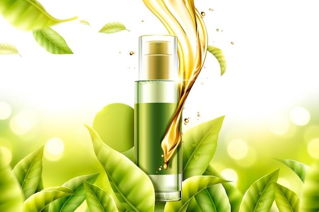 Produto de essência de chá verde com soro líquido em espiral e folhas na ilustração 3d