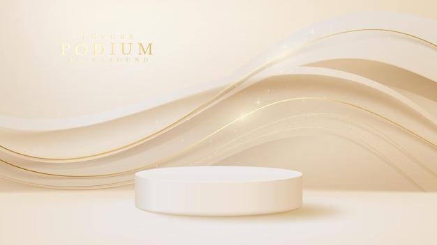 Produto de exibição de pódio branco e cena de linha dourada cintilante, fundo de estilo de luxo 3d realista, ilustração vetorial para promoção de vendas e marketing.