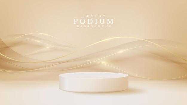 Produto de exibição de pódio branco e elemento de linha curva dourada cintilante, fundo de estilo de luxo 3d realista, ilustração vetorial para promoção de vendas e marketing.
