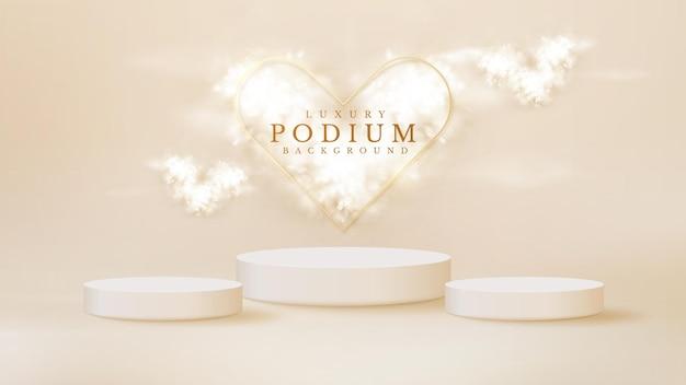 Produto de exibição de pódio branco e nuvem em forma de coração com elemento de linhas de ouro cintilante, fundo de estilo de luxo 3d realista, ilustração vetorial para promoção de vendas e marketing.