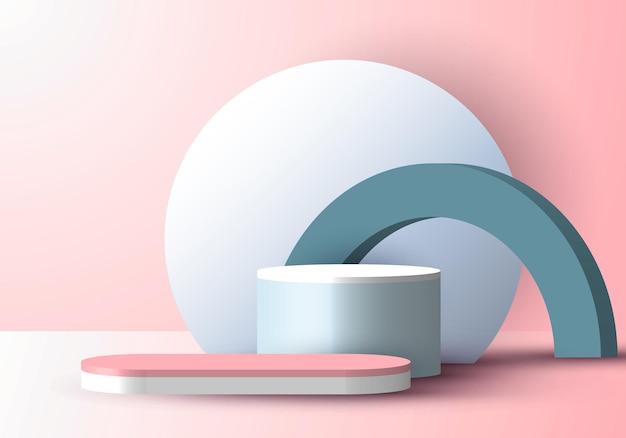 Produto de exibição geométrica pastel azul realista 3d com pódio e cenário de círculo fundo rosa de cena mínima. design para apresentação de produto, maquete, etc. ilustração vetorial