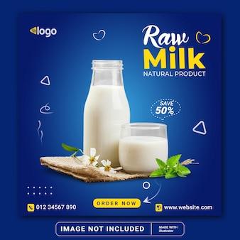 Produto de leite cru venda black friday flyer quadrado mídia social modelo de postagem do instagram