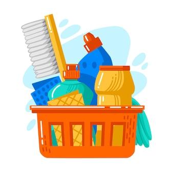Produto de limpeza para superfícies em uma cesta