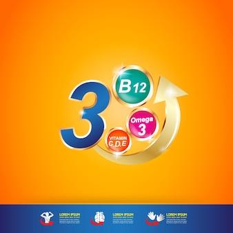 Produto de logotipo de vitamina e nutrição omega para crianças.