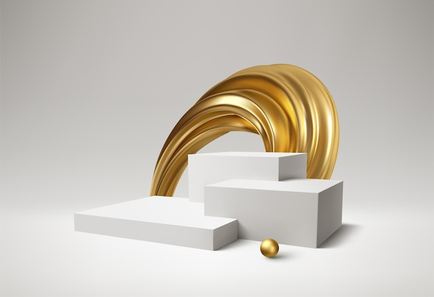 Produto de pódio branco de fundo 3d e redemoinho dourado realista