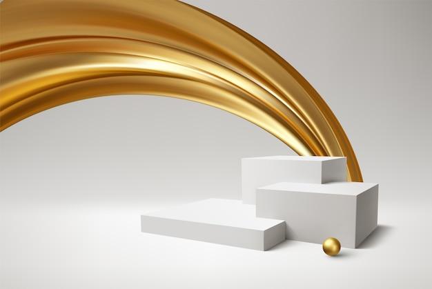 Produto de pódio branco de fundo e redemoinho dourado realista sobre fundo branco.