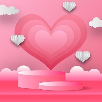 Produto de pódio exibir banner de cartão de dia dos namorados com forma de coração e nuvem. ilustração em vetor estilo corte de papel com fundo rosa.