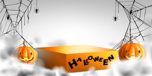 Produto de suporte de pódio com teia de aranha de abóboras e fumaça mística no fundo do dia de halloween