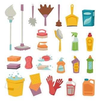 Produto de trabalho doméstico químico garrafa frasco de limpeza e ícones de vetor de equipamentos de lavagem de cuidados de caixa de plástico