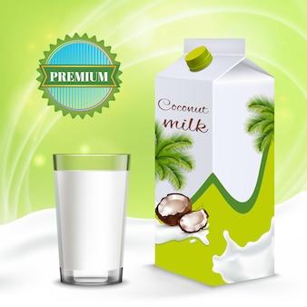 Produto e copo de leite de coco
