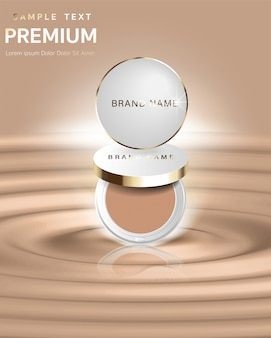 Produto essencial de maquiagem atraente de anúncios com textura isolada no fundo do brilho