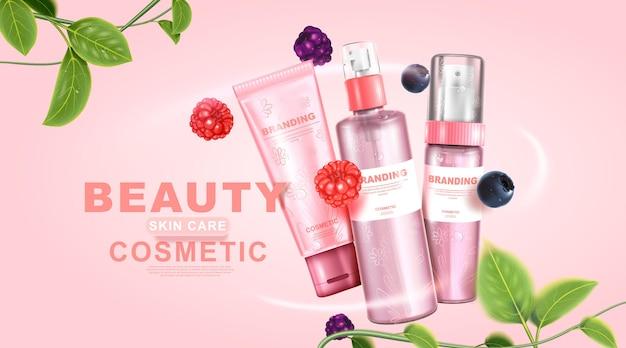 Produto natural para o cuidado da pele design de embalagem e folhas