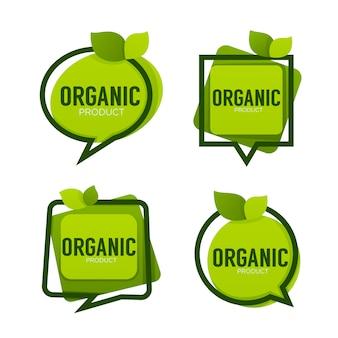 Produto orgânico, molduras de logotipo com folhas verdes, coleção de etiquetas, adesivos e emblemas