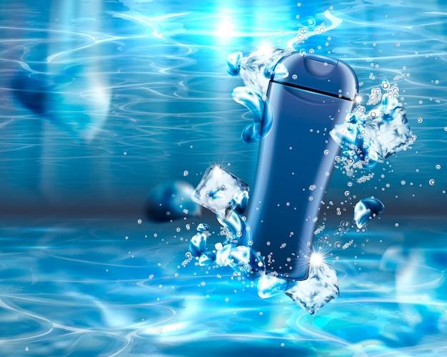 Produto para a pele em branco sob a água com cubos de gelo, bolhas e efeito brilhante de água