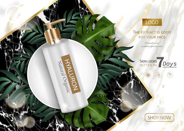 Produto para cuidados com a pele anuncia luxo dourado para anúncio com folhas tropicais em fundo de pedra de mármore