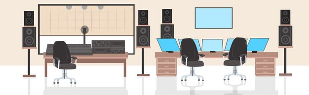 Produtor musical engenheiro de áudio local de trabalho estúdio de gravação interior horizontal