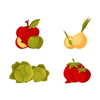 Produtos agrícolas - maçã, cebola bulbo, repolho, tomate