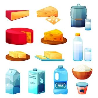 Produtos agrícolas tradicionais ou comida caseira da aldeia. ícones do vetor de queijo, requeijão, manteiga, leite.